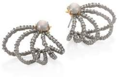 Crystal & Faux-Pearl Orbiting Stud Earrings