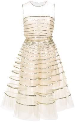 Oscar de la Renta sequin band-embroidered dress