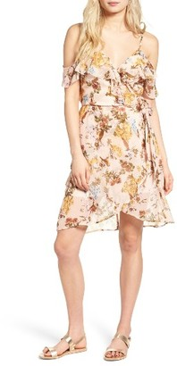 Women's Band Of Gypsies Ruffle Cold Shoulder Wrap Dress $55 thestylecure.com