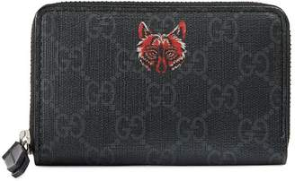 Gucci Wolf GG Supreme Card Case