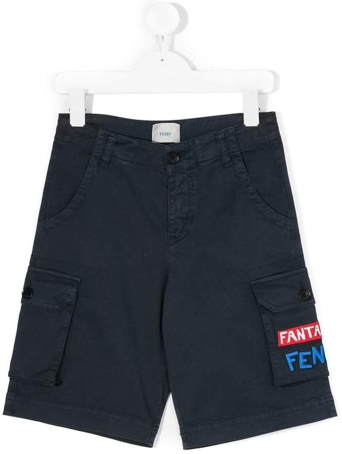 logo embroidery cargo shorts