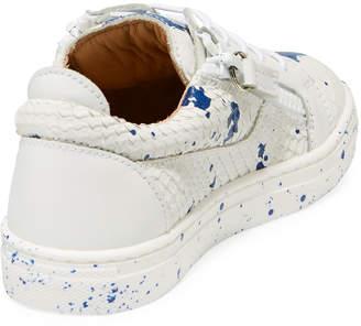 Giuseppe Zanotti Snake-Embossed Leather Paint Splatter Low-Top Sneakers, Toddler/Kids