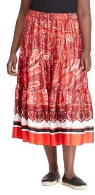 Lauren Ralph Lauren Plus Twill A-Line Maxi Skirt