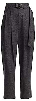Brunello Cucinelli Women's Flannel High-Waist Belted Pants