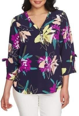 Chaus Mosaic Blossoms Cabana Blooms Split-Sleeve Blouse