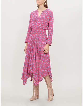 Maje Rayina asymmetric-hem floral-print crepe maxi dress