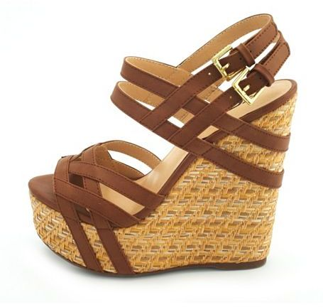 Charlotte Russe Woven Double Buckle Wedge Sandal