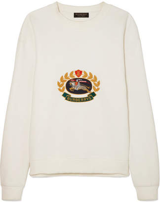 Burberry Embroidered Cotton-blend Jersey Sweatshirt - Ivory