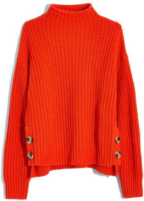 Madewell Mock Neck Side-Button Pullover Sweater