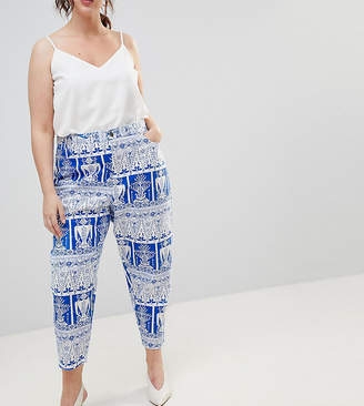 Asos DESIGN Curve balloon leg boyfriend jeans in tile print