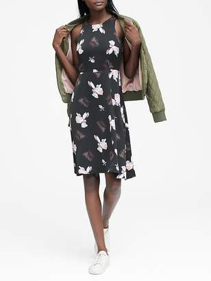 Banana Republic Petite Floral Racer-Neck Fit-and-Flare Dress