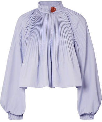Isabelle Pleated Striped Poplin Blouse - Sky blue