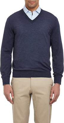 Brunello Cucinelli Men's Tipped V-neck Sweater - Navy