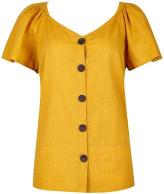 Dorothy Perkins Womens Yellow Flutter Sleeve Top