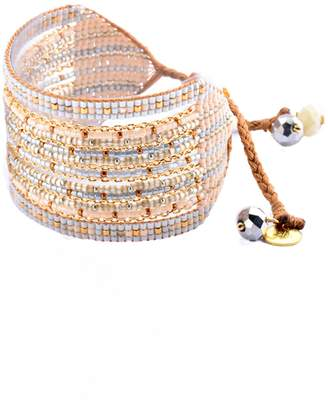 Mishky Cristal Bead & Chain Wide Cuff Bracelet