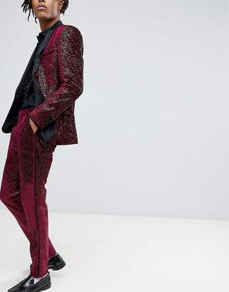 Asos Edition Super Skinny Tuxedo Suit Pants In Allover Burgundy Sequin