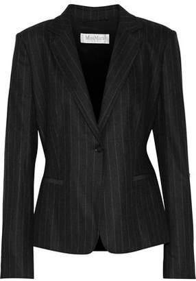 Max Mara Faux Leather-Trimmed Striped Wool-Blend Blazer