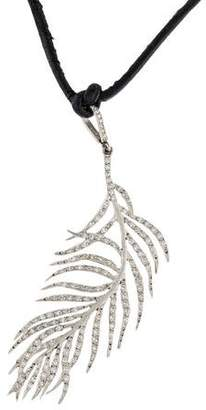 Cathy Waterman Platinum Diamond Feather Pendant Necklace