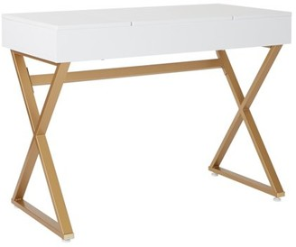 Office Star Products Juliette Vanity with White Top and Gold Legs