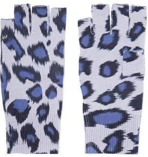 Autumn Cashmere Fingerless Leopard-Print Cashmere Gloves