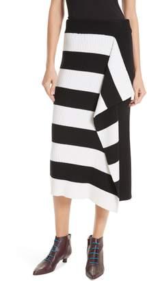 Tibi Origami Flap Stripe Midi Skirt