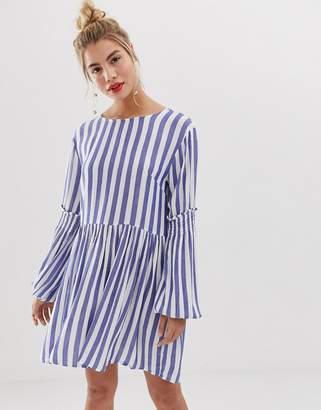 Yumi stripe dress with balloon sleeve detail