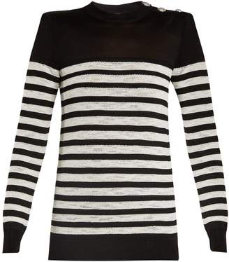Balmain Button-embellished striped sweater