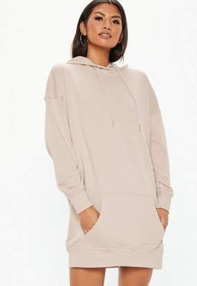 Missguided Sand Oversized Hooded Sweater Dress, Sand