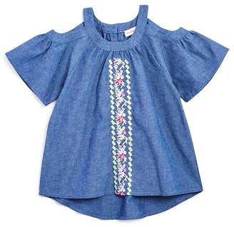 Design History Girls' Embroidered Cold-Shoulder Chambray Top - Little Kid