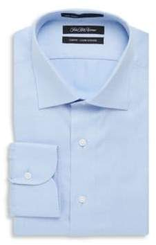 Saks Fifth Avenue Tonal Stitched Pattern Cotton Dress Shirt
