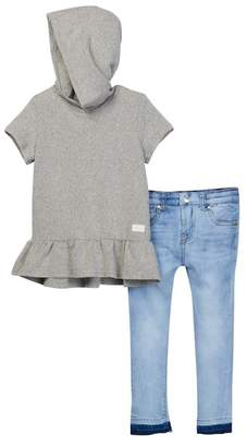 7 For All Mankind Ruffled Hoodie & Skinny Jeans Set (Toddler Girls)