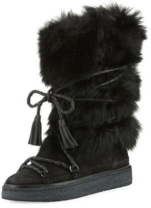 Frye Gail Shearling Fur Tall Boot, Black $548 thestylecure.com