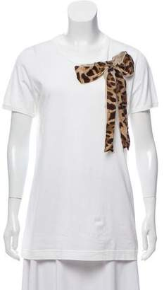 Dolce & Gabbana Bow-Embellished Scoop Neck T-Shirt