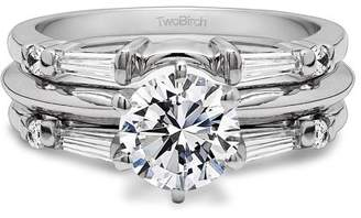 TwoBirch 2 Piece Bridal Set Includes: Guard and 1 Ct Solitaire ,Cubic Zirconia mounted in Sterling Silver. (1.46ctw)