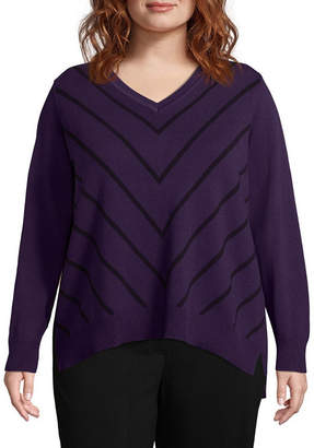 Liz Claiborne Chevron Pullover Sweater- Plus
