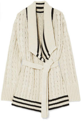 Maison Margiela Cable-knit Cotton And Linen-blend Cardigan - Beige