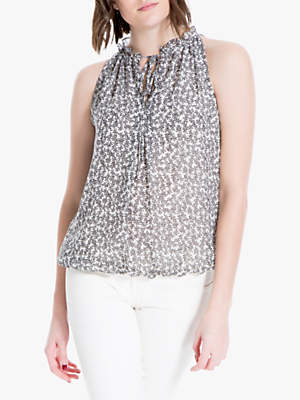 fcc8c070ffa Max Studio Sleeveless Tie Neck Daisy Print Top, Ivory/Black