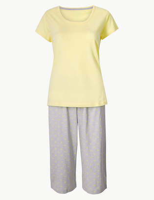 M S CollectionMarks and Spencer Pure Cotton Cropped Pyjama Set 81c086187