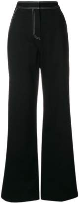 Self-Portrait overstitched wide leg trousers
