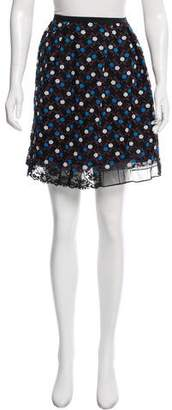 Marc Jacobs Lace-Trimmed Embroidered Skirt