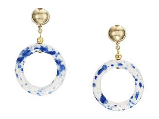Kenneth Jay Lane 2.5 Gold Ball Top with White and Blue Ceramic Open Circle Drop Clip Earrings