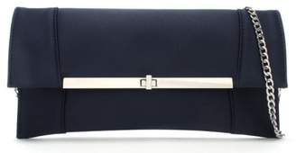 Daniel Afleck Blue Satin Envelope Clutch Bag