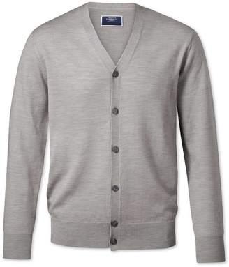 Charles Tyrwhitt Silver Merino Wool Cardigan Size Medium