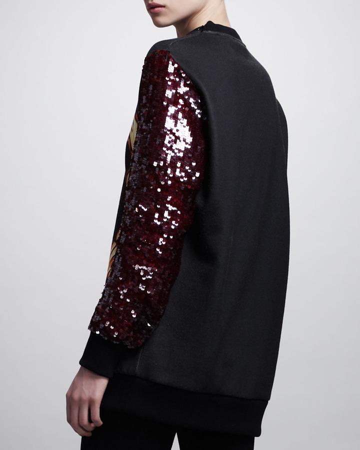Givenchy Printed Sequin-Sleeve Sweatshirt