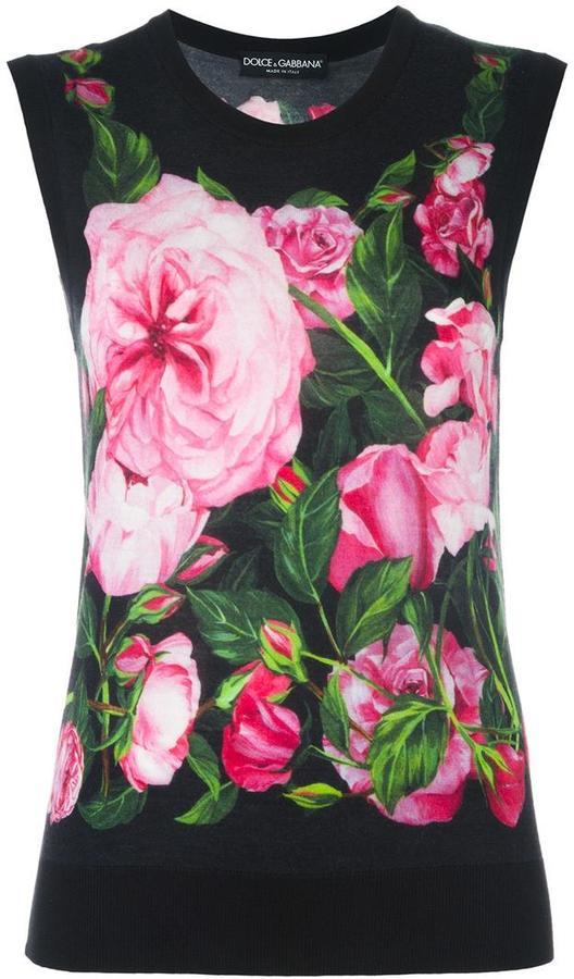 Dolce & GabbanaDolce & Gabbana rose print tank top