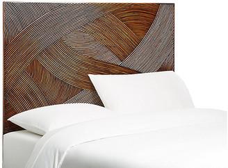David Francis Furniture Swirl Rattan Headboard - Golden Mahogany