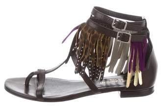 Saint Laurent Leather Fringe Sandals