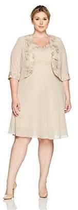 Le Bos Women's Plus Size Embroided Lapel a-Line Jacket Dress,14W
