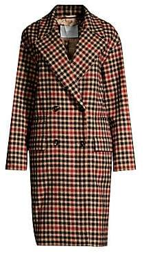 BOSS Women's Check Wool-Blend Double-Breasted Coat