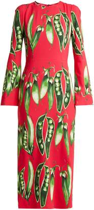 Dolce & Gabbana Broad bean-print round-neck crepe dress